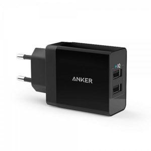 ANKER 24W 2X2,4A USB LAADIJA MUST 100-240V