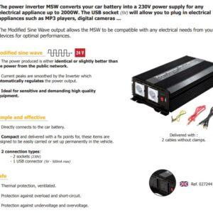 INVERTER 24V->230V (2000W MODIFIED WAVE)