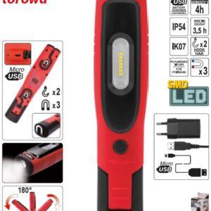 Led Lamp 3,5W+3W 280lm IP54 2200mAh aku 3,5h ühe laadimisega