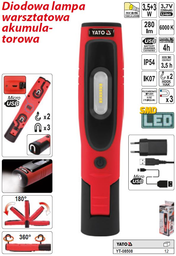 d67cd04a1c1 Led Lamp 3,5W+3W 280lm IP54 2200mAh aku 3,5h ühe laadimisega
