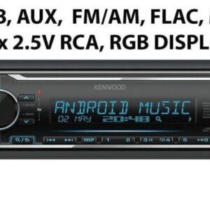 Kenwood KMM-124 1DIN autoraadio. USB / AUX / 2xRCA / 3-riba EQ,