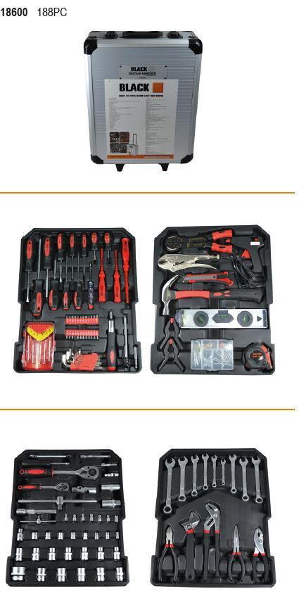 Tööriistakomplekt kohver ratastel 187osa Black Tools