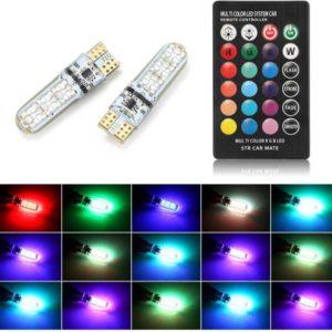 LED pirn puldiga juhitav T10/W5W 12V 6 RGB LED-i