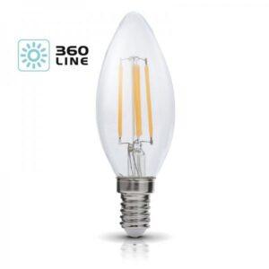 230V PIRN LED FILAMENT E14 R35 4W 440LM WARM WHITE 3000K 35X100MM 360° A+