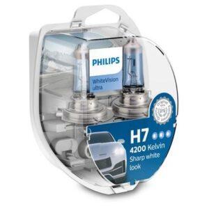 H7 55W WHITE VISION ULTRA 2tk + 2tk W5W