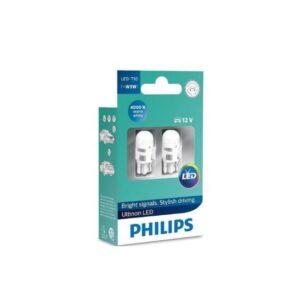 LED PIRN T10 W5W 4000k warm white PHILIPS 2tk